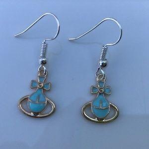 Women's Earrings Silver Plated Hook Bow-knot Blue